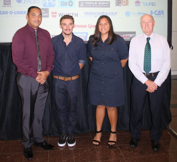 L-R: Mickitja Onus (ERA Indigenous Support Officer), Brock Hope (second year ERA Heavy Diesel Apprentice), Jaala Alley (second year ERA Heavy Diesel Apprentice), and Chris Hattingh (Acting General Manager Operations Ranger Mine).