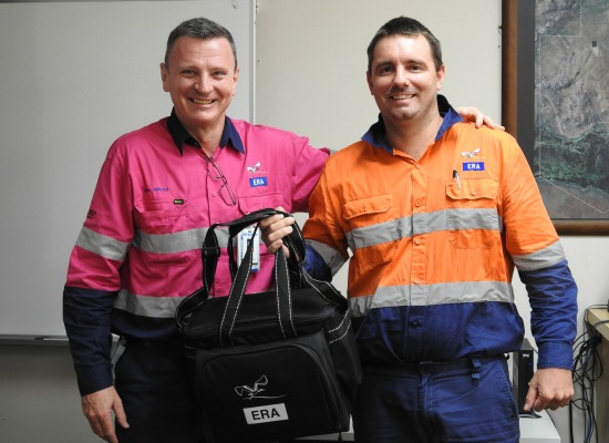 L-R: ERA Chief Executive Paul Arnold congratulates Operations and Maintenance Team Leader Casey McEvoy on his global safety award.